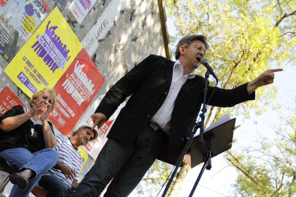 Jean Luc Mélenchon pour son discours du 30 juin 2013 à la fête du PCF de Lézan - Photo Xavier Aliot